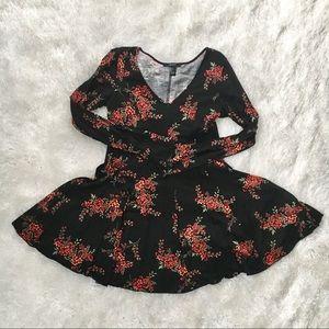 F21 Black & Red Floral Fit and Flare Skater Dress